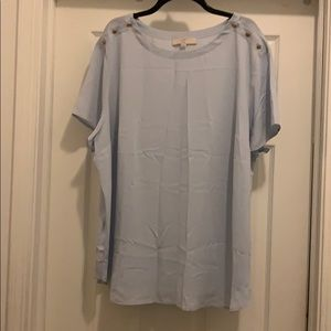 NWT Loft Shortsleeved Blue Blouse w/button detail